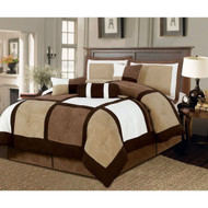 Full size 7-Piece Bed in a Bag Patchwork Comforter set in Brown White SFTYI08069