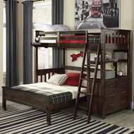 Twin over Full Bunk Bed Loft with 4-Drawer Chest and Ladder in Espresso Wood Finish ETOFBL6518481