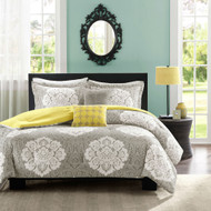 Full / Queen Grey White Damask Comforter Set with Soft Yellow Reverse TCSID9487262