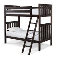 Twin over Twin Bunk Bed with Ladder in Espresso Wood Finish CLTOTBE519841