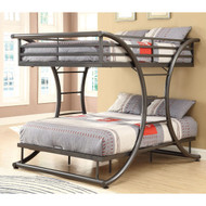 Full Over Full size Modern Metal Bunk Bed Frame in Gunmetal Finish MFOFB58988151
