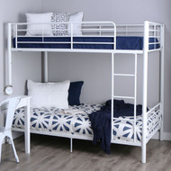 Twin over Twin Sturdy Steel Metal Bunk Bed in White Finish WETB19854841