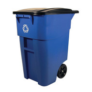 50 Gallon Blue Commercial Heavy-Duty Rollout Recycler Trash Can Container RECYC88311