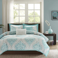 Full / Queen size 5-Piece Damask Comforter Set in Light Blue White and Grey FQLBDC98271762