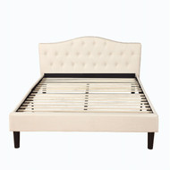 Full size Ivory Linen Upholstered Platform Bed with Button Tufted Padded Headboard CDOFBF98742