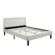 Full size Modern Classic Upholstered Platform Bed with Ivory Linen Padded Headboard FCNHPB98745