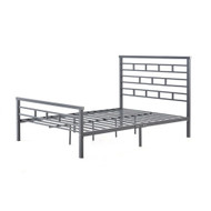 Queen Platform Bed Frame with Metal Headboard in Titanium Silver Finish MFBFCE519875212