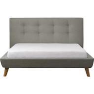 Queen Mid-Century Grey Upholstered Platform Bed with Button-Tufted Headboard QGPB1984857421