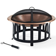 Oversized Copper Bowl Fire Pit with Black Steel Frame Poker and Spark Screen BFPC98541761
