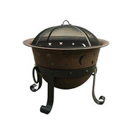 Heavy Duty Cast Iron Outdoor Patio Fire Pit Cauldron with Cover - Moon Stars Sky CHDPFB198861
