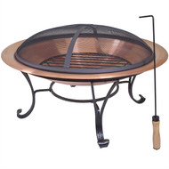 Large 29-inch Outdoor Fire Pit in 100% Solid Copper with Screen Cover COFP4958213