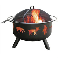 Large Black Steel Outdoor Fire Pit with Bear Deer Animals SPKCHD7785412