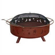 Large 36-inch Moon Stars Outdoor Steel Fire Pit with Spark Guard and Poker SUSVRH4895174