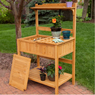 Natural Wood Potting Bench Garden Table with Bottom Shelf CFPB97463182
