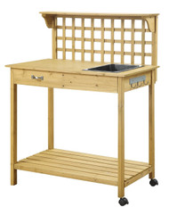 Natural Wood Finish Potting Bench with Trellis Shelving and Sink CPBCEG189581