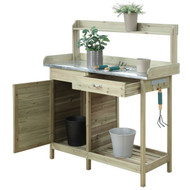 Natural Fir Wood Potting Bench with Stainless Steel Table Top CPBCG957162