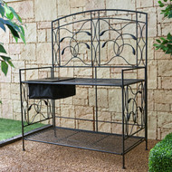 Black Metal Potting Bench with Wrought Iron Vine Details and Fabric Potting Sink NBOCE198182