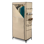 Tan 27-inch Portable Storage Closet Wardrobe with Shoe Organizer H9ST29841