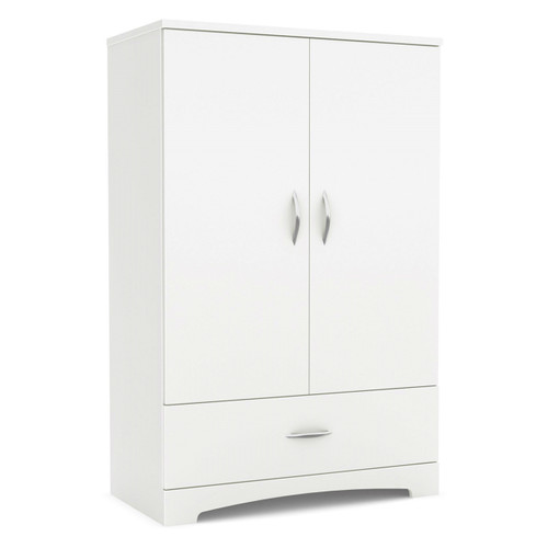 2 door armoire wardrobe cabinet bottom drawer white wood. Black Bedroom Furniture Sets. Home Design Ideas
