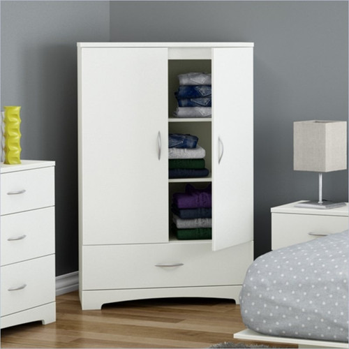 white clothes storage wardrobe cabinet armoire with bottom. Black Bedroom Furniture Sets. Home Design Ideas
