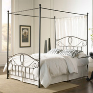 Queen size Complete Metal Canopy Bed with Scroll-work and Ball Finials QUBDUC9841