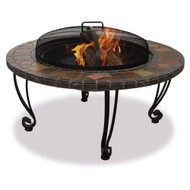 Marble and Slate 34-inch Fire Pit with Copper Accents and Wrought Iron Stand FMPC3879148