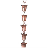 Handmade 8.5 Ft Solid Copper Tulip Rain Chain CTULEF4895471