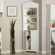 Bathroom Linen Tower Corner Storage Cabinet with 3 Open Shelves in White WCFLT651841