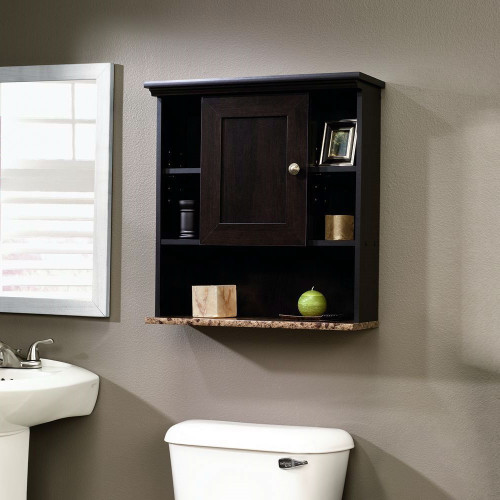 Bathroom wall cabinet 3 adjust shelves cinnamon cherry wood finish - Cherry finish bathroom wall cabinet design ...