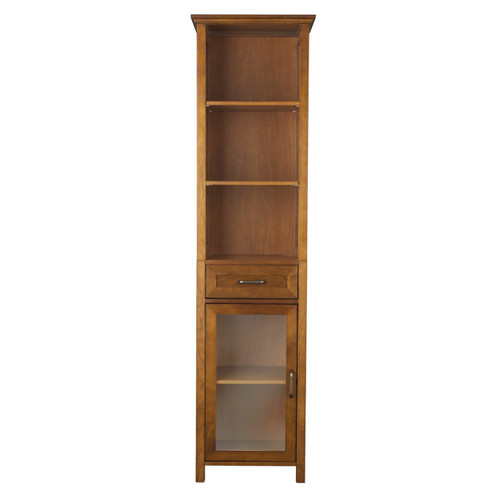 Oak finish bathroom linen tower storage cabinet with shelves for Oak linen cabinet for bathrooms