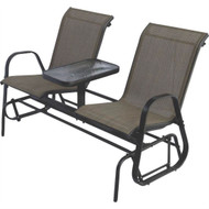 2-Person Patio Glider Chairs with Console Table- WDGC518451