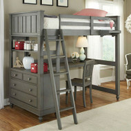 Twin Loft with Bed with Desk Chest and Ladder in Stone Wood Finish- NKLWT149812
