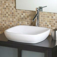 Modern Classic Style Semi- Recessed Square White Ceramic Vessel Bathroom Sink BDCH981214