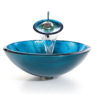 Round Blue Tempered Glass Vessel Bathroom Sink KIBVS1495158