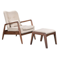 Bully Lounge Chair & Ottoman Beige -100536-1