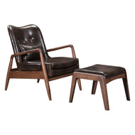 Bully Lounge Chair & Ottoman Brown -100535-1