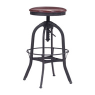Crete Barstool Burgundy & Antique Black -100441-1
