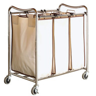 Heavy Duty Laundry Cart with 3 Cream Tan Hamper Bags and Lockable Wheels DBH466715