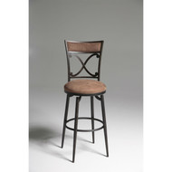Blackened Bronze Metal 30-inch Bar Stool with Brown Microfiber Swivel Seat FMG986621