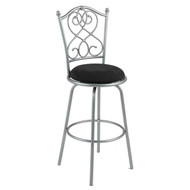 Brushed Silver Metal 30-inch Barstool with Black Microfiber Swivel Seat FBAB701532