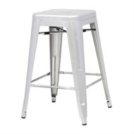 Indoor/Outdoor Backless Stacking Counter Height Bar Stool in Gunmetal Galv Steel TCS651845