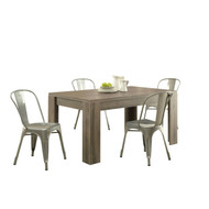Modern Block Leg Rectangular Dining Table in Dark Taupe Wood Finish MSWDT1856