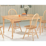 Natural Wood Finish Rectangular Dining Table with Butcher Block Top CRBFDT1377