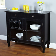 Black Dining Room Buffet Sideboard Server Cabinet with Glass Doors BWC167344