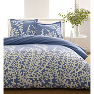 Twin 100% Cotton Comforter Set with Blue White Floral Branch Pattern- TCBFLK585891