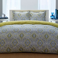 Twin 100% Cotton Comforter Set with Blue Yellow Damask Pattern- CMCSTR483681