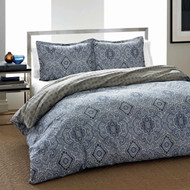 Twin 2-Piece Cotton Comforter Set with Blue Gray Medallion Pattern- CMTKDIC6548101