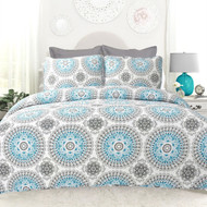 Full/Queen 3-Piece Cotton Quilt Set in Aqua Blue White and Grey Floral Pattern- FQDABC198418