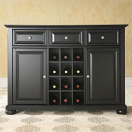 Black Dining Room Buffet Sideboard Cabinet with Wine Storage CASB289413