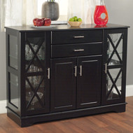 Black Wood Buffet Dining-room Sideboard with Glass Doors TAB370435